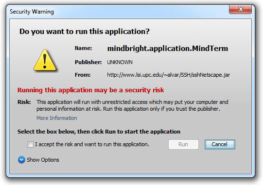 self-signed applet - new warning dialog