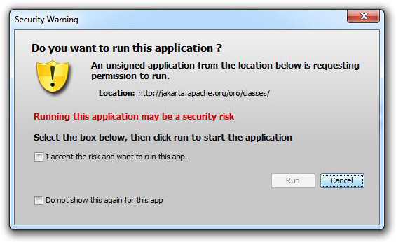 unsigned applet - new warning dialog