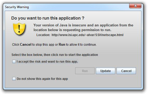 unsigned applet - warning dialog
